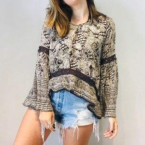 Patrons of Peace brown paisley peace sign blouse